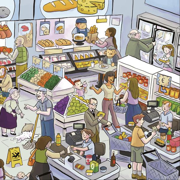 Voorbeeld van een Praatplaat over de supermarkt